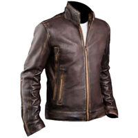 Mens Cafe Racer Stylish Biker Brown Distressed Genuine Motorcycle Leather Jacket