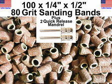 """100 - 80 Grit 1/4"""" Sanding Bands Drums w/2  3/32"""" Mandrel DRILL BITS ROTARY TOOL"""