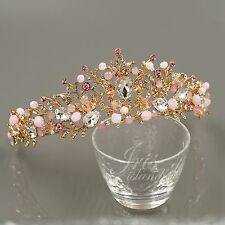 Cute Pink Austrian Crystal Rhinestone Tiara Crown Bridal Party Pageant 00584 GP