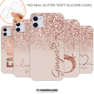 PERSONALISED INITIALS NAME SILICONE PHONE CASE COVER FOR APPLE IPHONE 11 7 8 XS