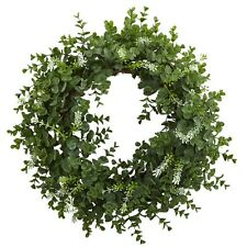 """Nearly Natural 4541 - 18"""" Eucalyptus Double Ring Wreath w/Twig Base - Green"""
