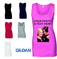 Ladies Custom Printed Vest Customised Personalised T-Shirt Tank Top Hen Party