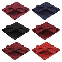 Men Paisley Floral Pre-tied Bow Tie Pocket Square Wedding Party Handkerchief Set