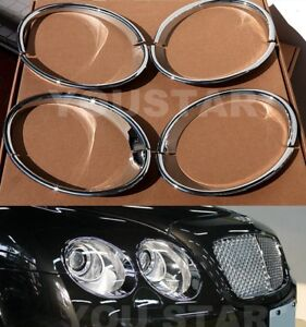 EXPRESS Set CHROME Headlight Bezels for Bentley Continental Flying Spur Sedan