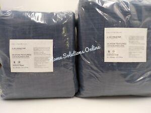 "Pottery Barn Seaton Textured Blackout Drape Panel 50 x 108"" Denim S/ 2 #H109"