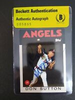 Don Sutton 1986 Topps #335 Signed Autographed Angels HOF Beckett BAS