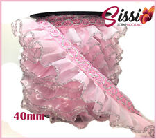 1m RUBAN GALON DENTELLE ROSE CLAIR ARGENT COSTUME FROUFROU COUTURE SISSI 40mm