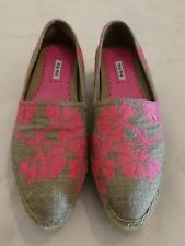 MIU MIU FLORAL CANVAS PLATFORM ESPADRILLES SLIP-ON SHOES Pink uk 7 eu 40