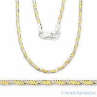 1.6mm Herringbone Link Chain Necklace .925 Italy Sterling Silver 14k Yellow Gold