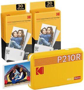 "Kodak Mini 2 Retro 2.1x3.4"" Portable Photo Printer + 68 Sheets, Yellow"