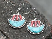 Handmade Tibetan turquoise coral earrings Bohemian gypsy earrings Gift for her
