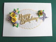 Personalised Handmade Luxury Birthday /Anniversary Card Quilled Purple/Yellow