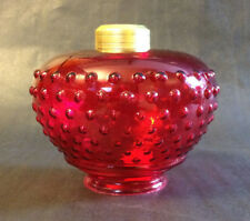 NEW Cranberry Hobnail Glass Font For Hanging Library Lamps Made In USA #GF905