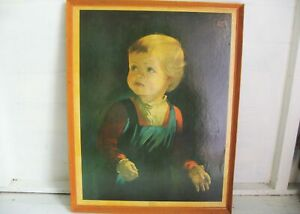 Vintage Childhood by Anna Zinkeisen Crying Boy Large Framed Print 70s 80s