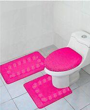 Hot Pink 3Pc Set Bathroom Solid Embroidery Anti-Slip Backing Bathmats #5