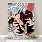 "Awesome Japanese SAMURAI SWORD FIGHT Art CANVAS PRINT 36x24""~ Kuniyoshi #240"