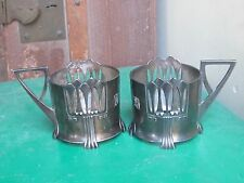 WMF ART NOUVEAU Glass Holders Pair c1900-Ostrich mark model 345-with monograms
