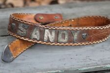 """1950s Fleming sterling hand tooled belt with silver name """"Sandy"""" with hearts"""