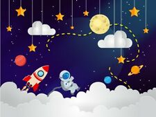 7x5ft Astronaut Outer Space Galaxy Rocket Star Moon Backdrop Party Background