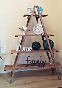 Tier Wooden Ladder Shelves Bookcase Plant Flower Shelving Units-4 /138cm