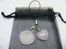 1960 Lucky Sixpence & Rose Quartz Heart Phone / Bag Charm - Nice Birthday Gift