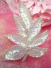 "FS476 Leaf Applique Sequin Crystal AB Silver Beaded Motif 4"""
