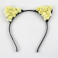 Women Girls Cat Ears Headband Flower Floral Party Costume Head Hair Band