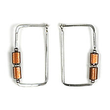 Jody Coyote Earrings JC71 Heritage Collection HER-0113-06 silver hoop rectangle