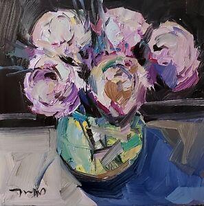 JOSE TRUJILLO Oil Painting IMPRESSIONISM CONTEMPORARY FLOWERS PEONIES NR