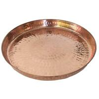 Copper Hammered Round Serving Tray 12″ Hotel Home Decor Bar Tray Elegant New