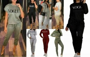Women Ladies Short Sleeve Boxy V Neck Vogue Print Tracksuit LoungeWear 2 Pcs Set