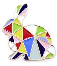 Spilla / pin di coniglio coniglietto stile patchwork modello arcobaleno
