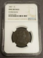 1807 1c DRAPED BUST LARGE CENT, EARLY COPPER *NGC FINE DETAILS* LOT#N177