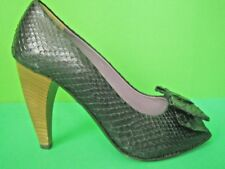 FRANCO MARTINI ITALY Black Embossed Leather NEW Open Toe Pumps 7