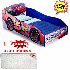 Toddler Bed Wooden Furniture With Mattress Disney Cars Kids Bedroom Race Car Boy