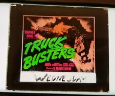 Theater Movie Magic Lantern Glass Slide TRUCK BUSTERS 1943 TRAVIS WB #SL16
