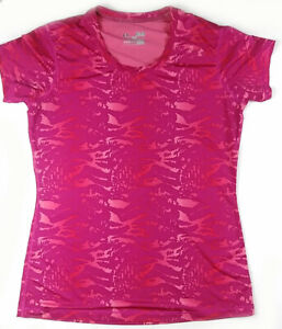 Under Armour Heat Gear Short Sleeve Fitted Top, Red Abstract Size M