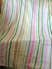 Love Nature Fabric Shower Curtain & Rings Stripes Hearts Pink Yellow Green Set