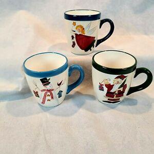 Atico International Snowman Santa Claus Angels Christmas Holiday Large Mugs