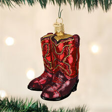 Red Cowboy Boots Glass Ornament