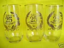 25th Wedding Anniversary Beverage 3 Set 12 oz Glasses Silver Trim