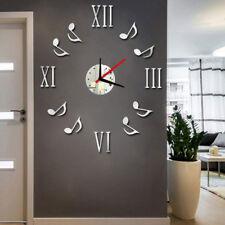 Orologio Da Parete Moderno 3D con Note di Musica Numeri Romani da Muro Specchio