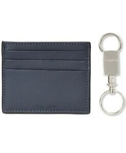 Calvin Klein Men's Navy Blue Mini Wallet Card Case Key Chain Leather $45- #272