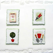Gardening Themed Set of Cutter Embossers Impression Tool Sugarcraft