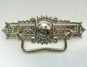 """Antique Reproduction EASTLAKE Nickel on Brass DRESSER PULL Handle NEW 3"""" Centers"""