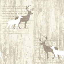 Stag Deer Wallpaper Woodland Tree Beige Natural Cream Typography Arthouse