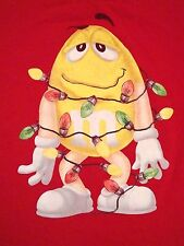 M&M's Christmas Lights Season Xmas Candy Covered Chocolate Yellow Guy T Shirt M