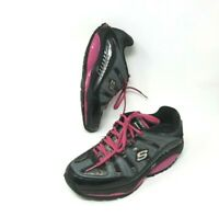 Skechers Shape Ups SFT Womens Black Pink Toning Walking Shoes Size 7.5