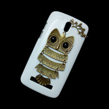 Cute Fashion Retro Owl Branch Leaves Handmade Back Hard Case Cover For Nokia HTC