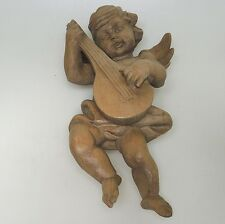 Hindelang Massivholz Handarbeit großer Engel Putto Wandengel ca. 32 x 21 cm
